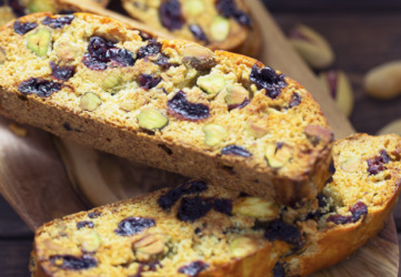 Sour Cherry, Cranberry and Pistachio Biscotti