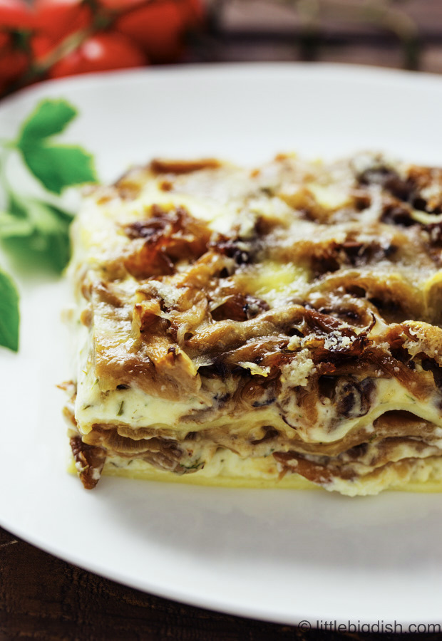 Ricotta and Oyster Mushroom Lasagna - delicious and filling. Due to meaty and flavorful oyster mushroom you will never miss meat. A must try recipe.