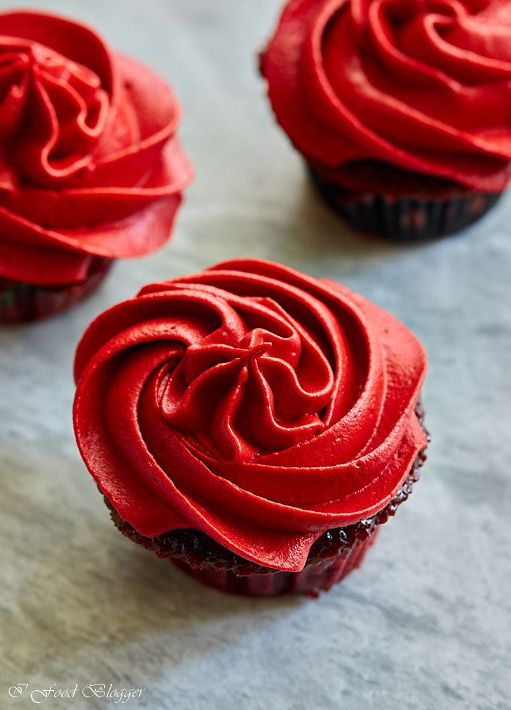 Red velvet cupcakes - red color