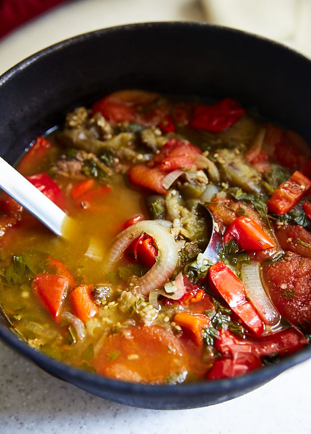 Healthy eggplant and tomato soup with beef tenderloin - one of my favorite recipes so far, the healthiest beef tenderloin dish ever. Paleo friendly. Low carb. Sweetness from peppers and onions is balanced by acidity from tomatoes. This soup is a definite must try.