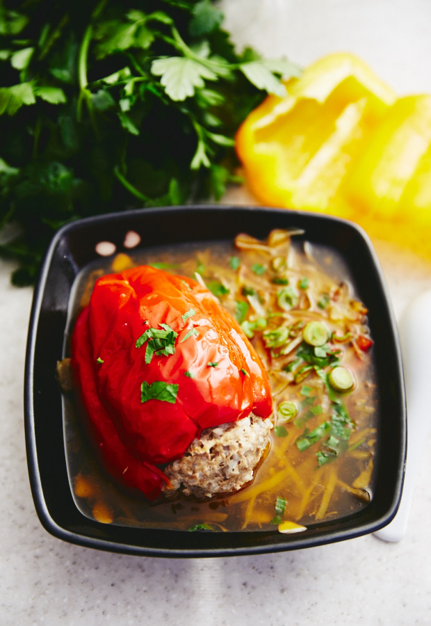 Easy Stuffed Peppers - loaded with veggies, perfectly balancing carbs, fat and proteins and providing a delicious, healthy, yet satisfying meal.Use quinoa to substitute heavier, starchier rice and you will have a gluten-free super meal. Pork or beef can be substituted for lean chicken or turkey meat practically without sacrificing the taste.