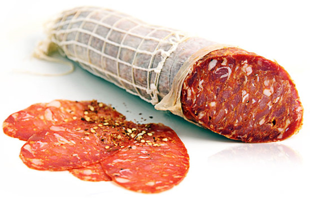 Meat Curing Chamber - Finished Sopressata - Dark ring Spicy Sopressata
