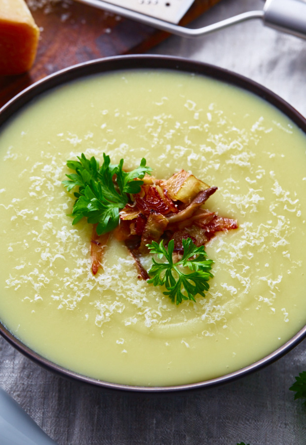 This creamy potato soup is delicious as is, but with caramelized oyster mushrooms and onions it's to die for. The best creamy potato soup recipe there is, and very quick and easy to make.