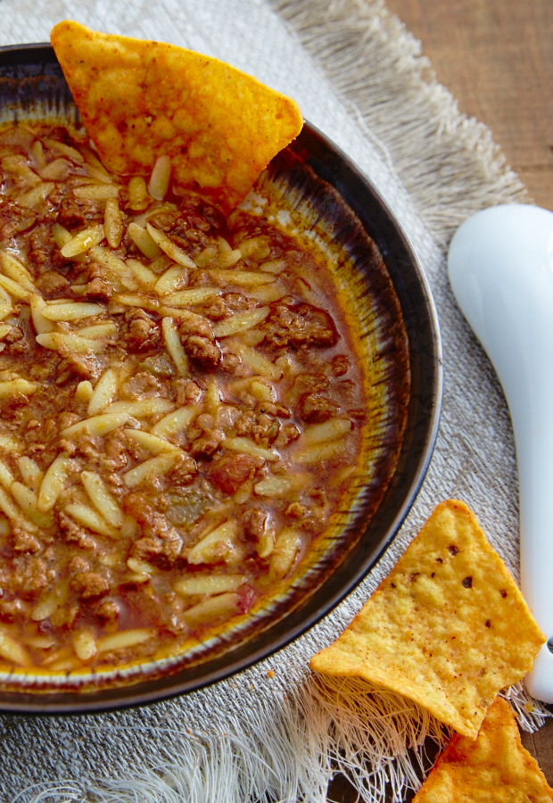 Beanless chili recipe that incorporates orzo pasta.