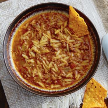 Beanless Orzo Chili Recipe