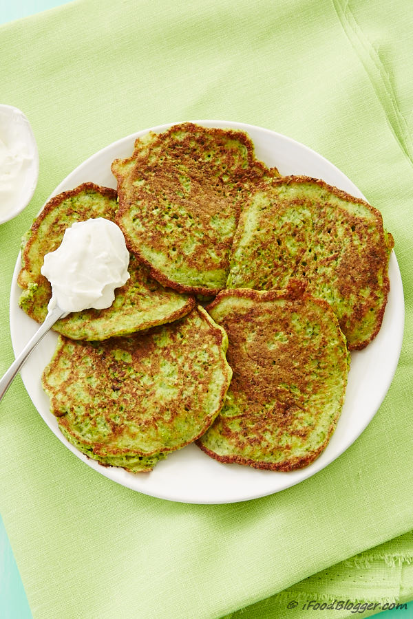 Zucchini and Broccoli Pancakes - so good that even kids love them. Serve with Greek yogurt for added protein and taste.