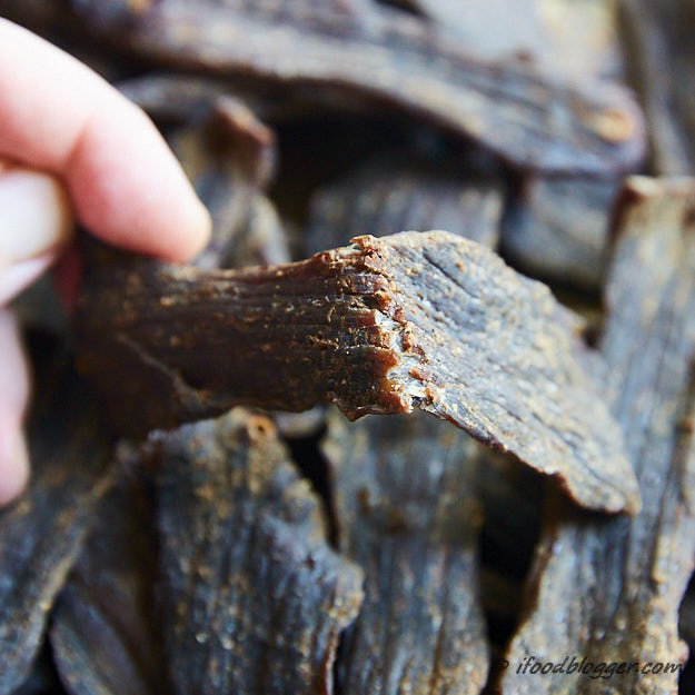 How to make beef jerky in the oven - this beef jerky was steamed/roasted before dehydration folloiwg USDA recommendation