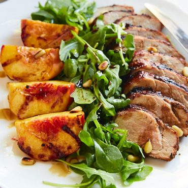 Grilled pork tenderloin with grilled peaches and arugula salad is a delicious, low carb and healthy dish. All ingredients just come together perfectly. A must try this peach season.