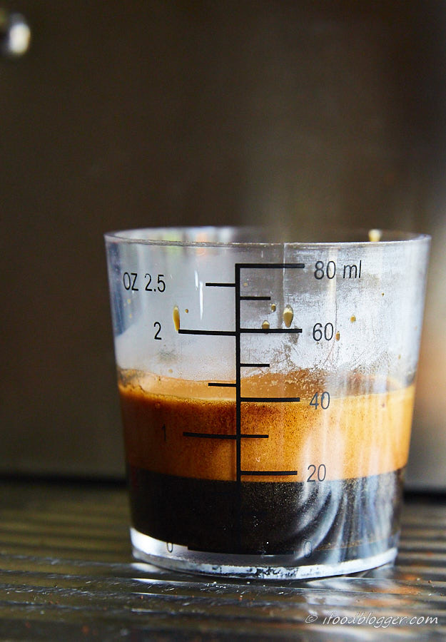 A comprehensive guide on how to make espresso at home like a pro. Homemade espresso will cost you 10 times less and will rival best espressos out there. Completed espresso shot.