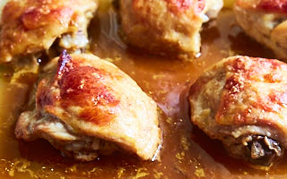 Unforgettable oven baked chicken thighs flavorized inside out with chipotle injection. Quick, easy and delicious. Done in 40 minutes from start to finish.