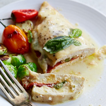 Roasted Pepper and Mozzarella Stuffed Chicken Breast