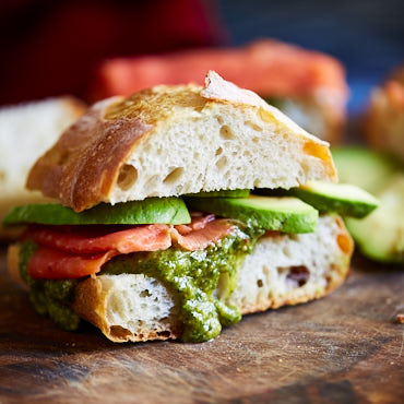 Smoked Salmon Sandwich with Avocado and Pesto
