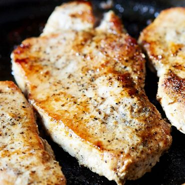 Delicious, tender and juicy pan-fried boneless pork chops made in under 10 minutes. A perfect recipe for a busy workday dinner.