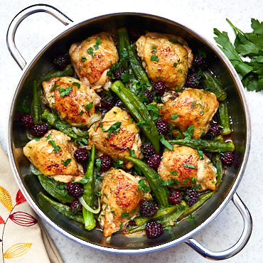 Pan-Fried Chicken Thighs with Okra and Blackberries