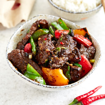 Hunan Beef with Peppers and Asparagus