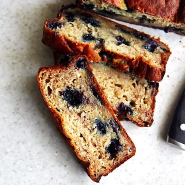 Banana Bread with Blueberries and Yogurt