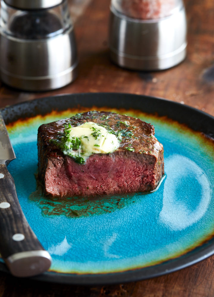 Restaurant-style filet mignon with compound butter - once you try it you will never cook your filet mignon any other way.