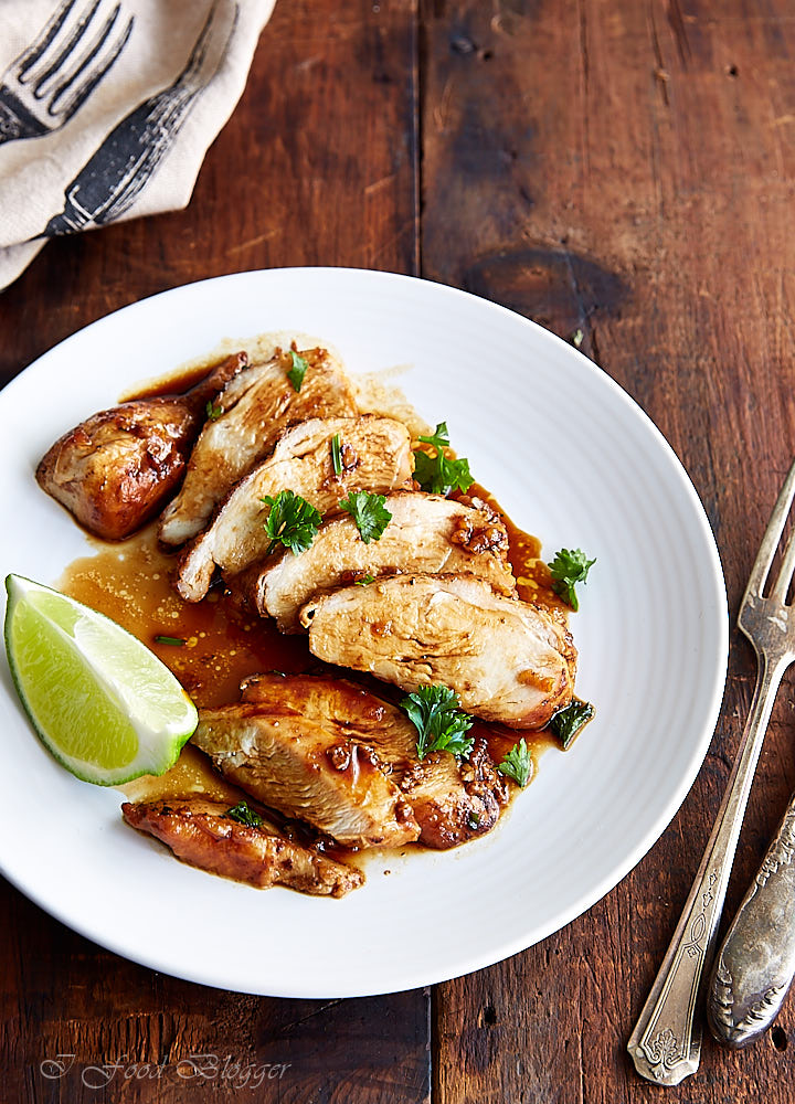 Pan-fried chicken breast made with honey garlic lime sriracha pan sauce. The sauce is the real star here - sweet and tangy, with a touch of heat. It's lip-smacking delicious. A must try!