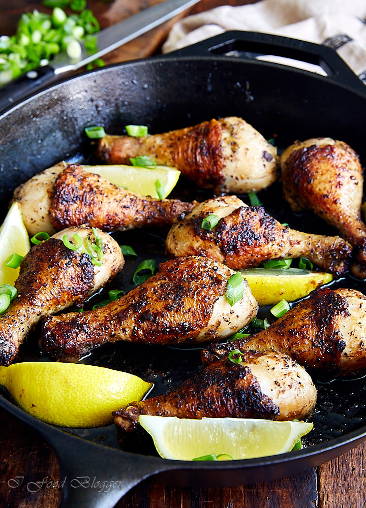 Pan-seared to perfection on a cast iron pan, these chicken drumsticks pack a ton of flavor. Inside, they are juicy and fall-off-the-bone tender.