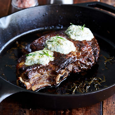 Pan-Seared Ribeye Steak with Compound Butter