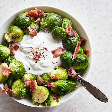 Roasted Brussels Sprouts with Greek Yogurt Dip, Bacon and Saffron