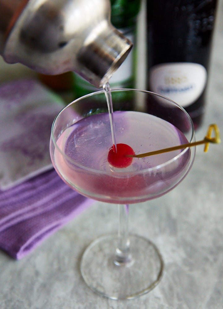 The Aviation cocktail is a classic cocktail made with gin, maraschino liqueur, crème de violette, and lemon juice. It's an oldie but goodie with a long history, amazing taste and a stunning purple color.