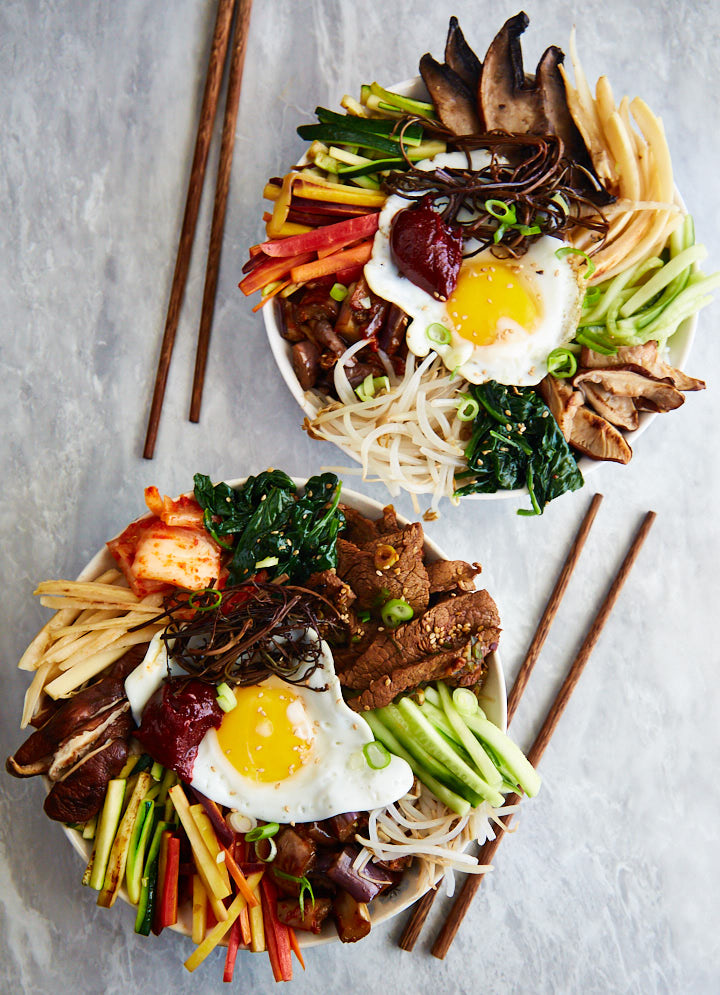 This is a traditional Korean Bibimbap recipe that incorporates all typical components such as doraji and gosari and many other tasty things.