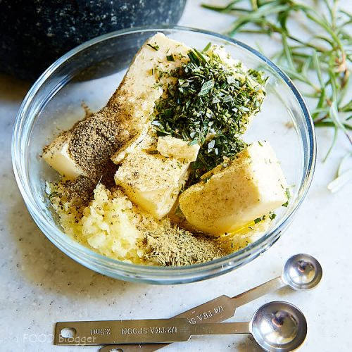 Roasted turkey breast - preparing butter for infusing with herbs and garlic. | ifoodblogger.com