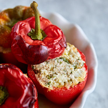 Super healthy yet super delicious Ground Turkey and Quinoa Stuffed Peppers.