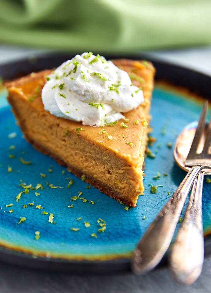 Key Lime Pumpkin Pie is a hybrid pie that combines the best qualities of a classic pumpkin pie and a traditional key lime pie. Perfect for Thanksgiving dinner dessert.