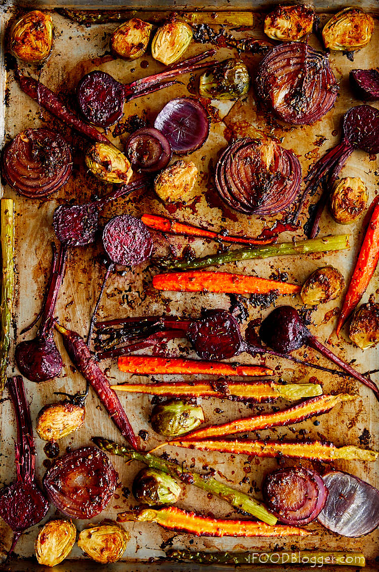 Scrumptious Roasted Vegetables - More space between the vegetables results in better and faster roasting.