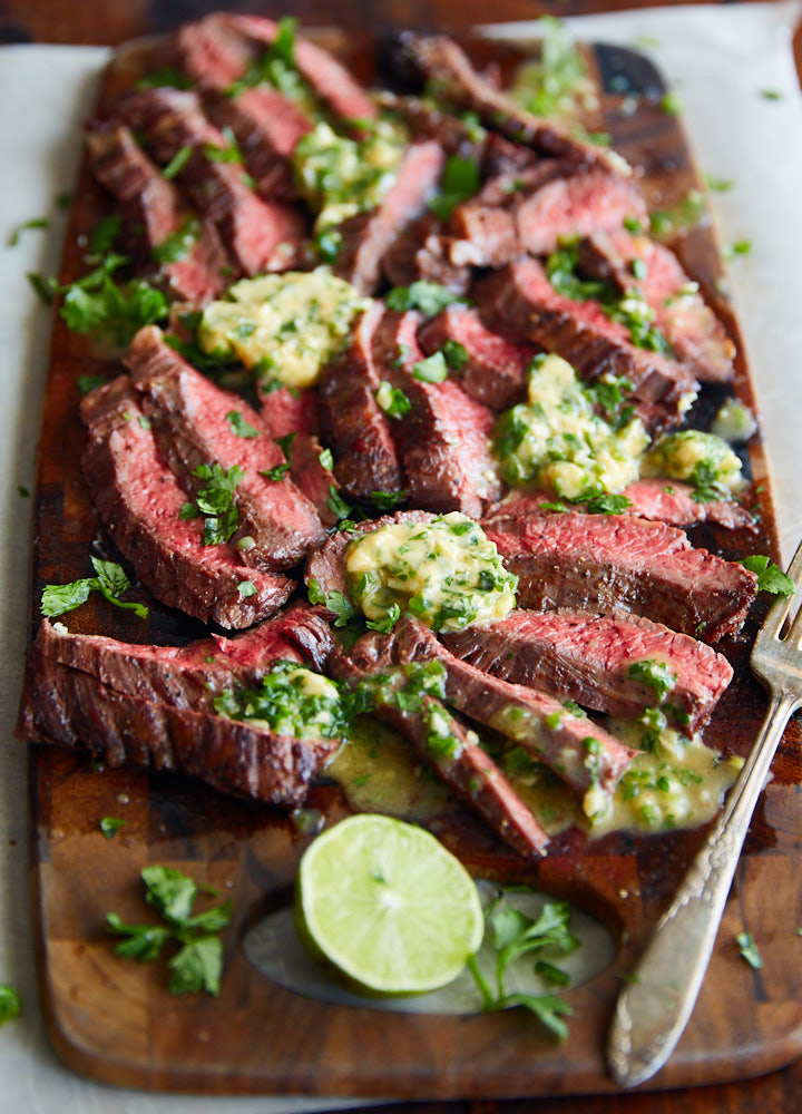 Pan-Fried Skirt Steak with Chili Butter - IFOODBLOGGER.COM