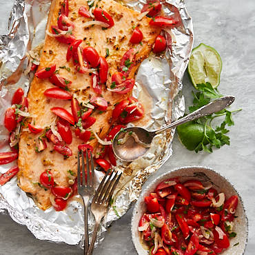 Broiled Steelhead Trout with Cherry Tomato and Shallot Relish