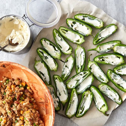 Supreme Baked Jalapeno Poppers - Adding cream cheese