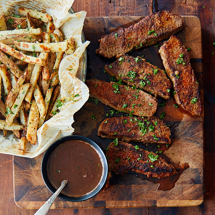 Tri-Tip Steak served with truffle fries and red wine sauce