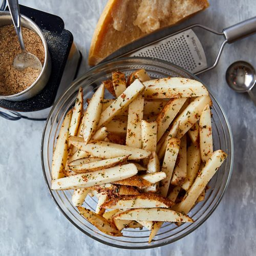 Truffle fries recipe instructions – toss ingredients to coat well