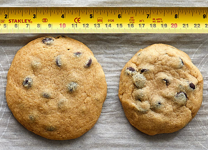 chocolate chip cookies - demonstration how different cookie shapes turn out after baking with specific measurements shown