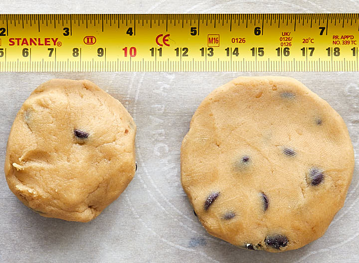 chocolate chip cookies - how to shape the cookie and measurements for sizing