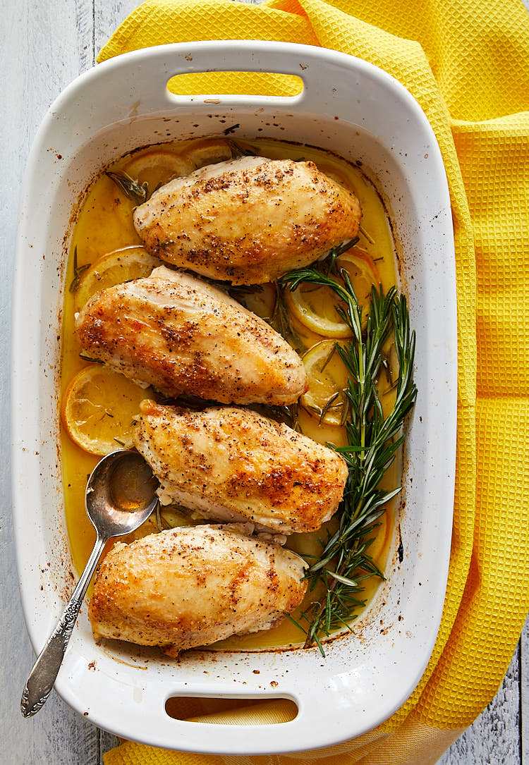 Roasted Bone-In Chicken Breast With Olive Oil, Lemon, and Rosemary Recipe