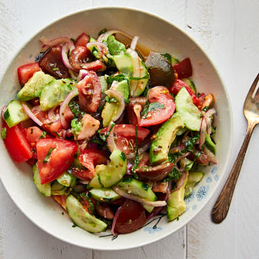 Delicious Tomato Cucumber Avocado Salad