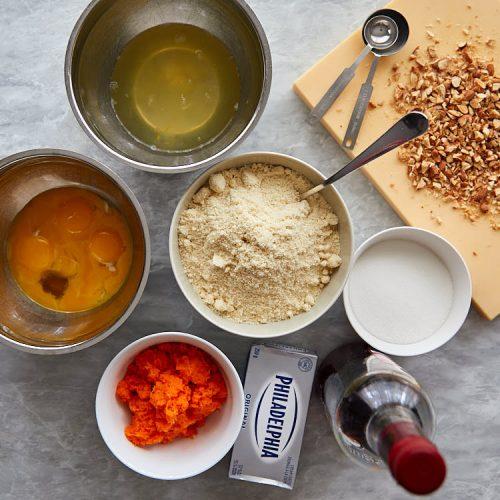 Carrot cake ingredients.