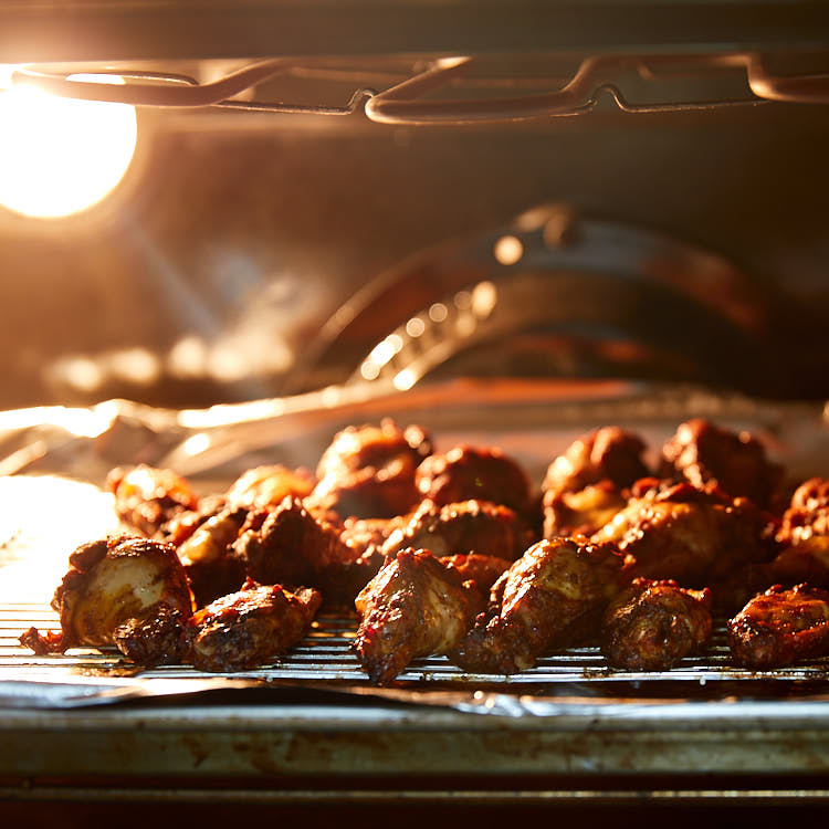 Marinated Broiled Chicken Wings - broiling in the oven
