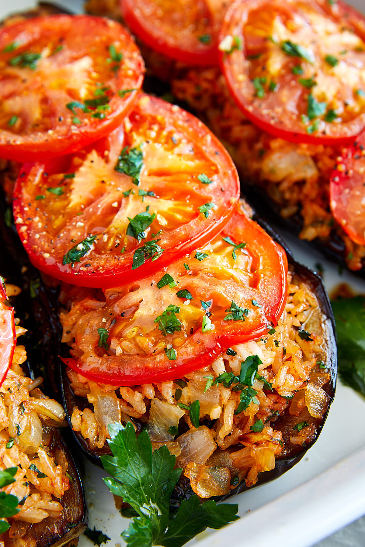 Fried Eggplant with Rice and Tomatoes | ifoodblogger.com #eggplant #friedeggplant #healthyrecipes #vegan #vegetarian #lowcarb