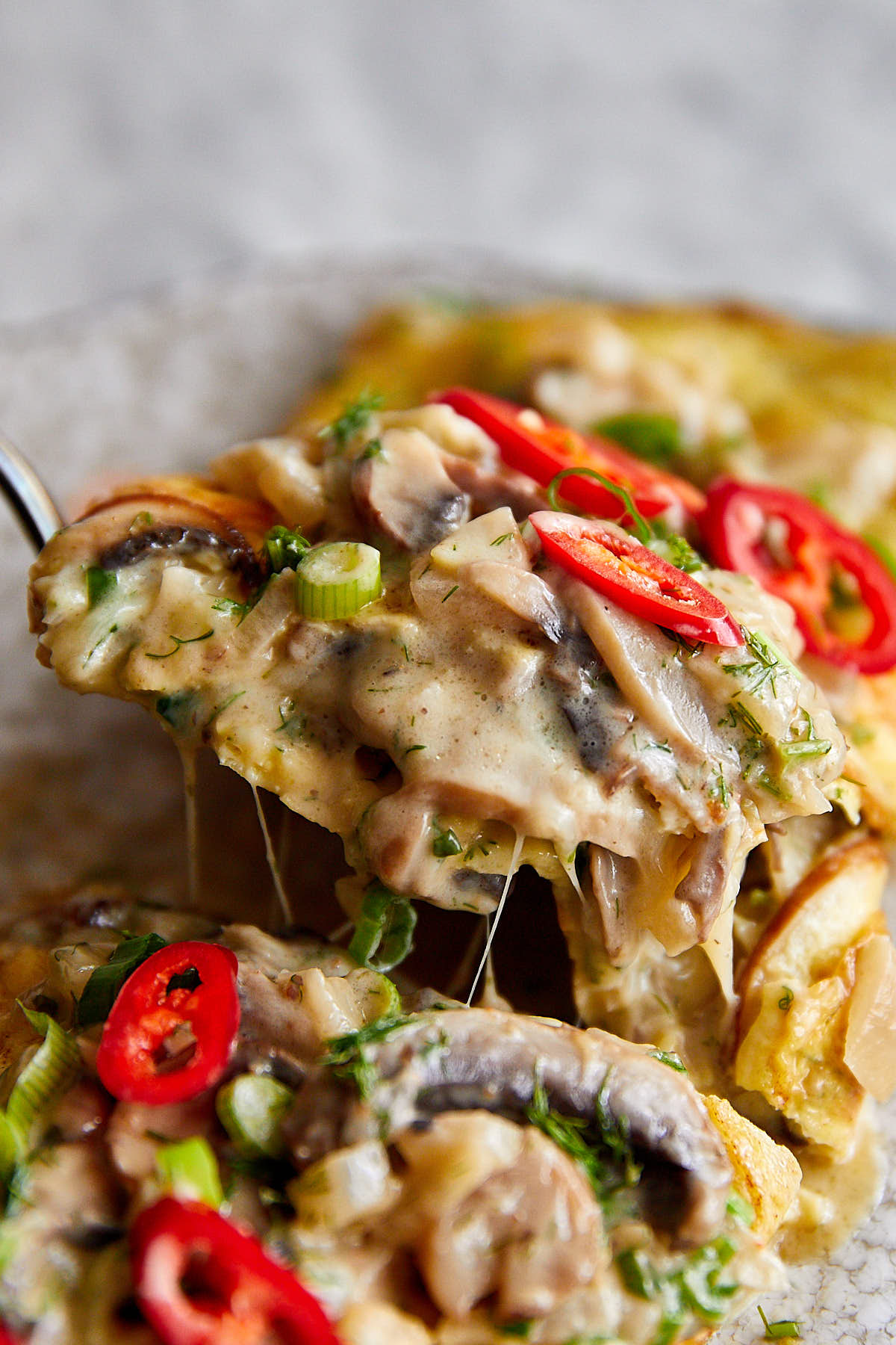 Delicious mushroom omelette with cheesy and creamy mushrooms.