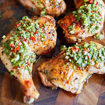 Grilled Chimichurri Chicken Legs