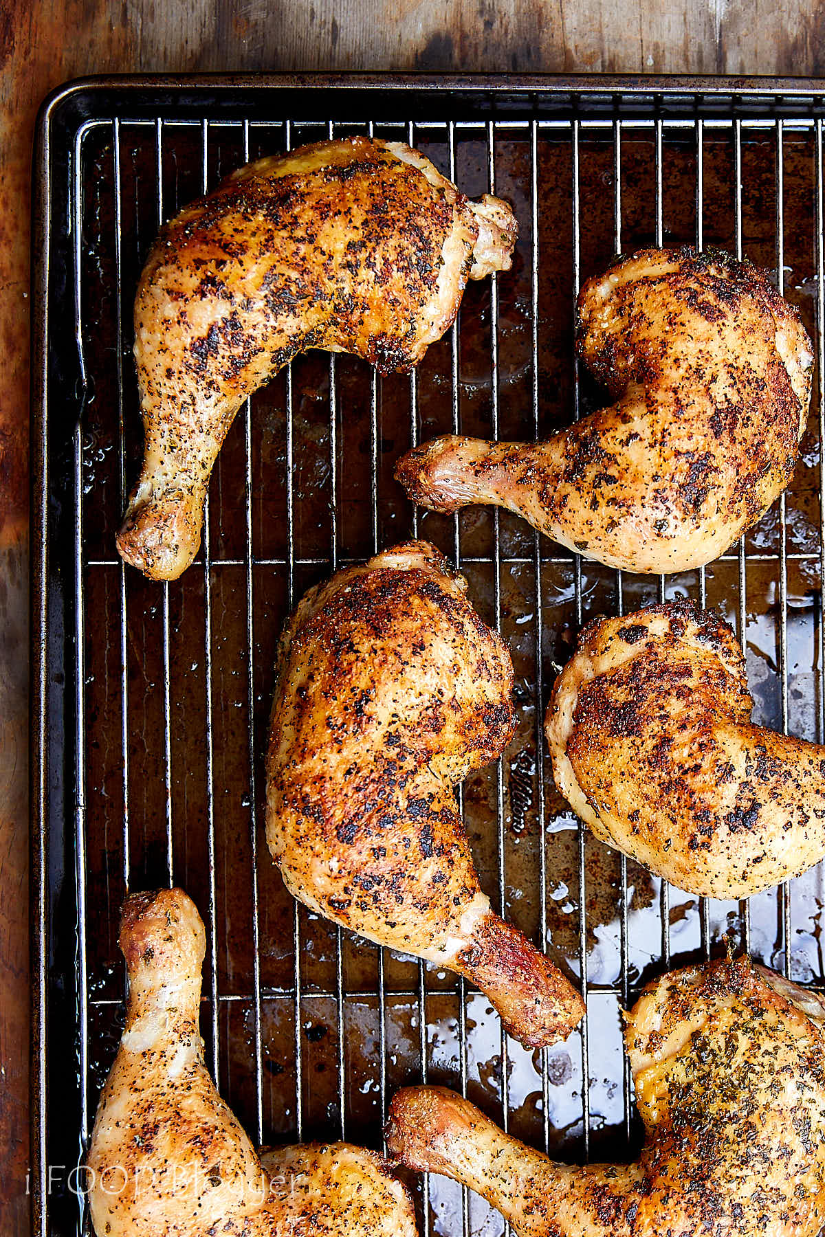 Crispy-skinned and fall-off-the-bone tender oven roasted chicken quarters recipe. Very easy to make and perfect every time. | ifoodblogger.com