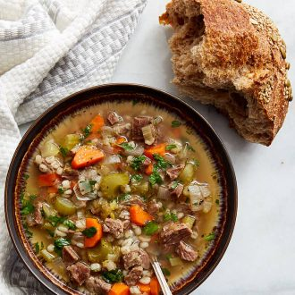 Beef and Vegetable Soup - delicious, comforting and perfect for a cold day.   ifoodblogger.com
