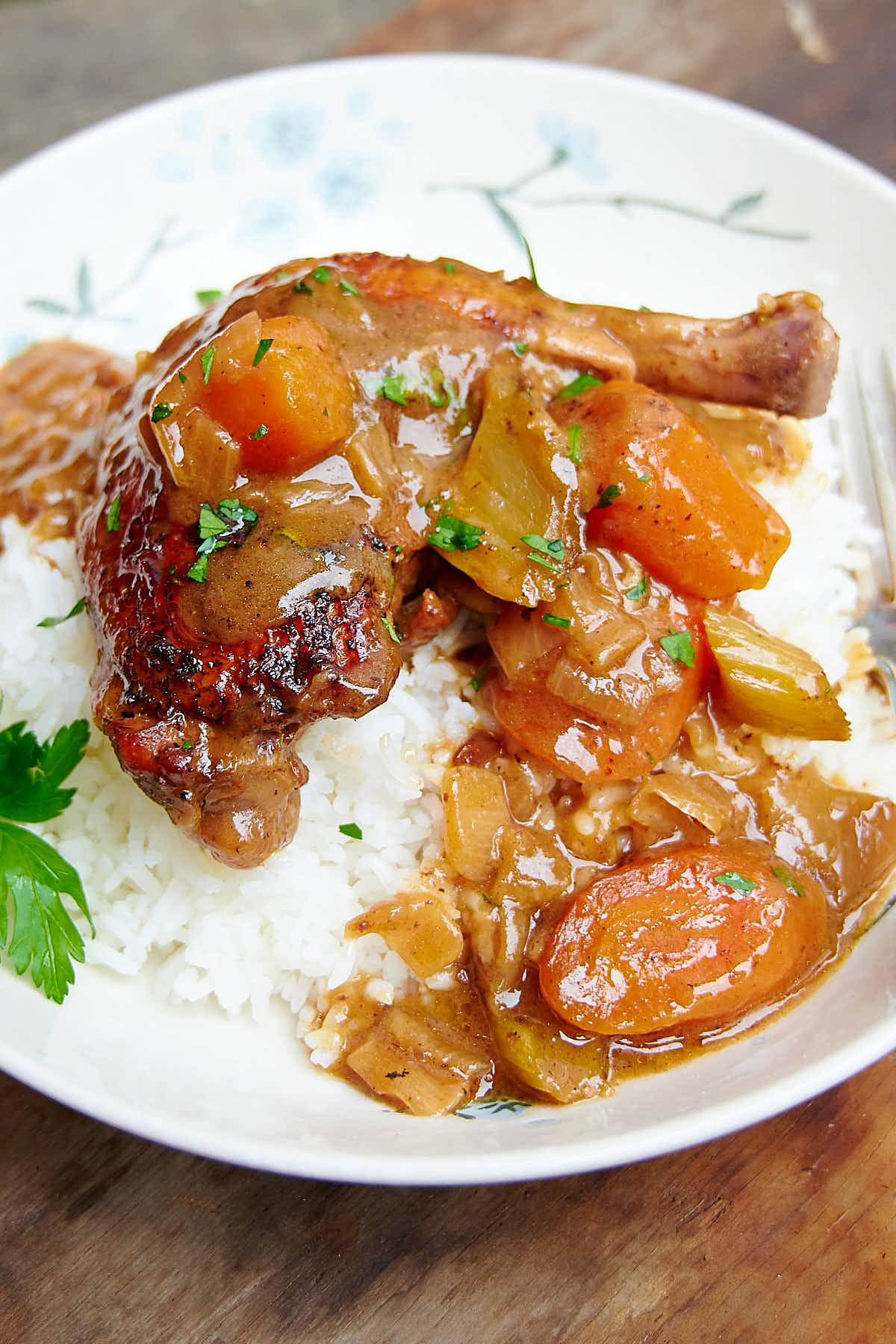 This Braised Chicken is fall-off-the-bone tender and exceptionally tasty. The ingredient list for this braised chicken is short and simple, while the flavors are deep and rich. The chicken is braised in gravy and there is not need to thicken the sauce later.   ifoodblogger.com