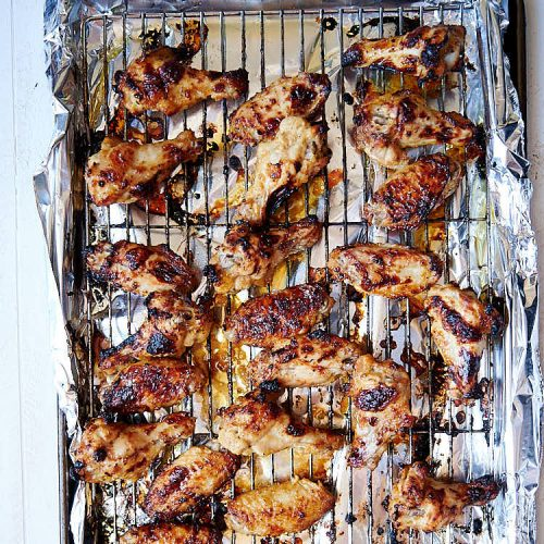 Broiled chicken wings. Finished Broiling on a rack.
